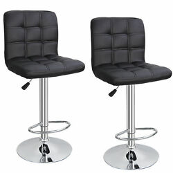 Set of 2 Square PU Leather Adjustable Bar Stools with Back Swivel Stool Modern $70.99