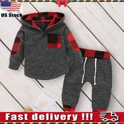 Toddler Baby Boys Hooded Tops T Shirt Long Pants Tracksuit Outfits Clothes Set $17.69
