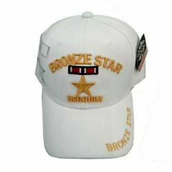BRONZE STAR WHITE ACRYLIC MILITARY BASEBALL CAP NEW MILITARY HEADWEAR HAT $19.99
