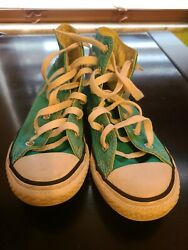 Converse All Star Youth Girl#x27;s Lace High Top Chuck Taylor Shoes Turquoise Sz 1 $21.99