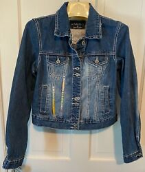 Hand Embroidered Up Cycled Denim Jean Trucker Jacket Vanity Womens L $60.50