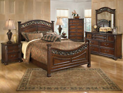 Old World Brown Wood amp; Metal Bedroom Furniture 5pcs Queen Poster Bed Set IA1E $2025.91