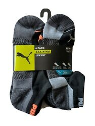Puma Men Socks 6 Pairs Pack Training Low Cut SZ 10 13 SHOE SZ 6 12 Black Gray $14.50