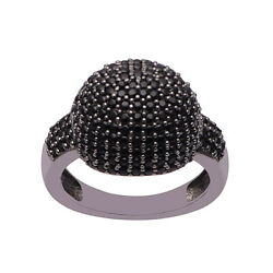 Black Spinel Cluster Dome Ring 925 Sterling Silver Cocktail for Women Size 7.5 $23.99