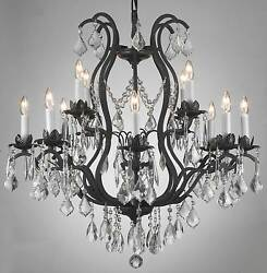 12 LIGHT WROUGHT IRON MADE WITH SWAROVSKI CRYSTAL CHANDELIER LIGHTING FIXTURE $733.32