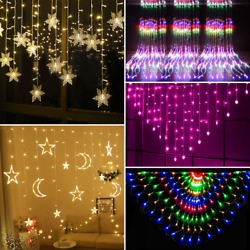 Christmas LED Icicle Hanging Wall Curtain Fairy String Lights Xmas Party Wedding