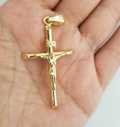 14k Yellow Gold Jesus Christ Crucifix Cross Charm Pendant $25.00