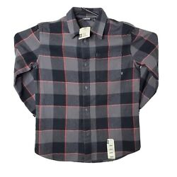 NWT Vans Off The Wall Boys Gray Red Button Down Long Sleeve Flannel Shirt Large $25.00