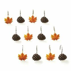 Autumn Forest Shower Hooks with Pine Cones Maple Leaves for Curtains 12 Pcs. $15.98