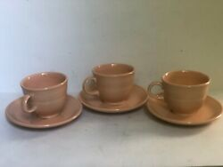 Fiesta Apricot Cups Saucers Contemporary Set of 3 $9.00