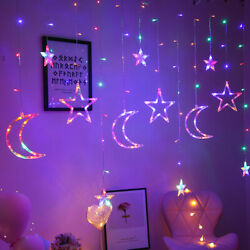 138 LED Curtain Star Moon Hanging String Lights LED Home Wedding Party 8 Modes