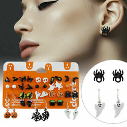 20 Pairs Christmas Halloween Stud Earring Set Women Girl Bat Pumpkin Lamp Spider $4.48