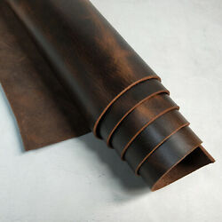 Oil Wax Brown Tooling Leather Hide 5 6oz Pre Cut Genuine Cow Leather Hide Skin $11.35