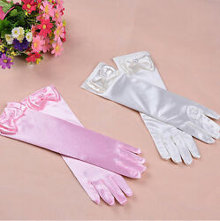 10 Pairs Kids Girls Satin Bow Pearl Gloves Princess Wedding Party Dance Dress $24.00