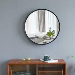 24 x 24quot; Round Wall Mirror With Black Metal Frame For Entryway Washroom Bedroom $39.95