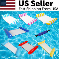 Inflatable Swimming Float Water Hammock Floating Pool Summer Beach Lounge Bed $10.55