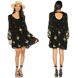 Free People Embroidered Oxford Black Swing Bohemian Dress Size Extra Small $45.00