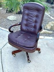 Hancock amp; Moore Leather Tufted Executive Bankers Desk Chair Barristers Lawyer $849.00