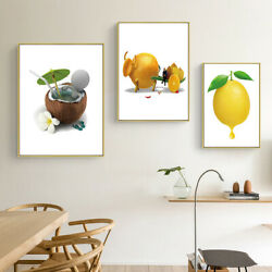 Creative Fruit Canvas Kitchen Poster Print Pictures Wall Home Restaurant Decor $3.98