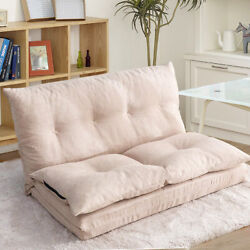 Beige Sofa Bed Floor Couch Sofa Adjustable Fabric Folding Chaise Lounge Sleeper $192.99