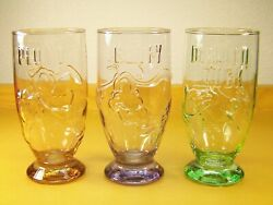 3 Vintage Disney Embossed Colored Glasses by Onishi Goofy Pluto amp; Donald Duck $19.95