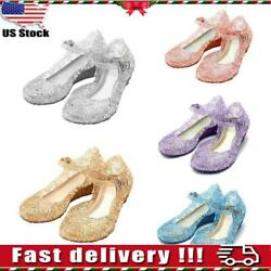 USA Kids Girls Sandals Jelly Shoes Princess Elsa Cosplay Fancy Dress Up Party $13.59