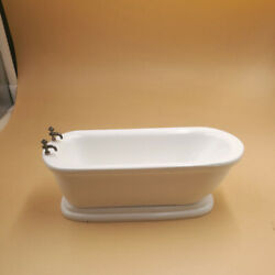 1:12 Dollhouse White Flat Bottom Bathtub Mini Bathroom Furniture $18.99