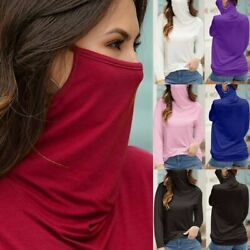 Women#x27;s Casual Loose Turtleneck Long Sleeve Soild Face Mask Tops Blouse T shirt $16.99