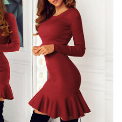 Sexy Women Long Sleeve Ruffle Mini Dress Bodycon Party Cocktail Dresses Clubwear $18.99