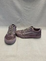 Vans Off The Wall Girls Purple Glitter Shoes size 1 Y $18.00