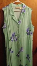 Original Island Sport Tropical Green Floral Long Beach Dress Size 16 $10.00
