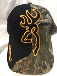 BROWNING BLACK CAMO CAP EMBROIDERED DEER LOGO ADJUSTABLE COUNTRY LIVING $10.99