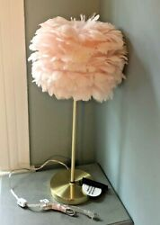 NEW RACHEL ZOE DESIGNER 25quot; PALE PINK FEATHER LAMP ON GOLD METAL BASE GORGEOUS $117.77