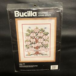 Bucilla Counted Cross Stitch FAMILY TREE #40577 11quot; x 14quot; Kit with Hoop NEW $13.99