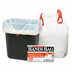 Handi Bag Drawstring Kitchen Bags 13gal 0.6mil 24 x 27 3 8 White 50 Box HAB6DK50 $15.72