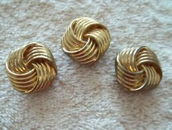 Vintage Button Covers Lot of 3 Gold Tone Metal Swirl Design $6.50