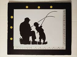 Father and Son Fishing for Fish 11quot; x 8.5quot; Custom Stencil FAST FREE SHIPPING $12.73