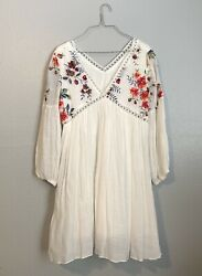 Women's Embroidered Boho Beach Cover Up Dress White Size Small Medium NWT $19.00
