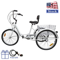 7 Speed 24quot; Adult 3 Wheel Tricycle Cruise Bike Bicycle With Basket White USA $233.00
