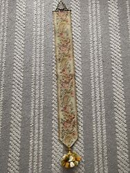 Rare Vintage Tapestry Flower Wall Hanging With Tassel $45.00