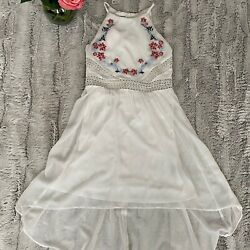 Girls White Sleeveless Dress With Blue And Red Blue Emboidered High Low Sz 12 $11.99