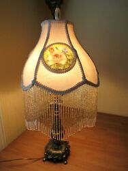 Victorian Style Table Lamp Beaded Lamp Shade with Glass inserts Cast Brass 24 in $208.25