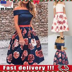 Women Ladies Off Shoulder Floral Skater Dress Cocktail Evening Party Ball Gown $13.89