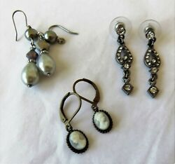 3 Pair Crystal Faux Pearl Cameo Drop Dangle Pierced Earrings wire leverback post $4.99