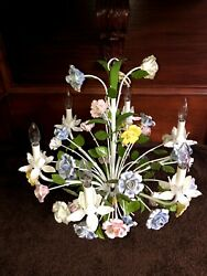 Vintage Italian Tole Chandelier with Ceramic Roses $495.00