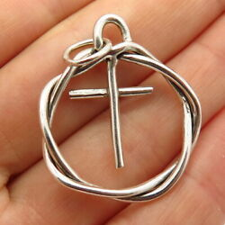 925 Sterling Silver Cross In Circle Pendant $29.99