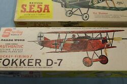 Sterling and Guillows Balsa Plane Kits 1 Fokker D 7 1 S.E.5A Vintage $95.00