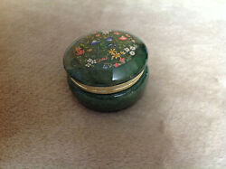 genuine alabaster hand carved made in italy green floral round trinket box $16.99