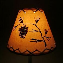 Rustic Oiled Kraft Laced Pine Cone Clip On Lamp Shade 9quot; $40.00
