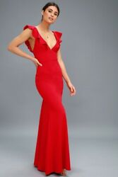 Lulus Perfect Opportunity Red Maxi Lined Dress Womens Small Prom Bridal NWOT $27.97